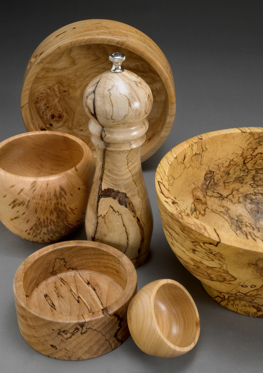Burl Bowl and Pepper Grinder